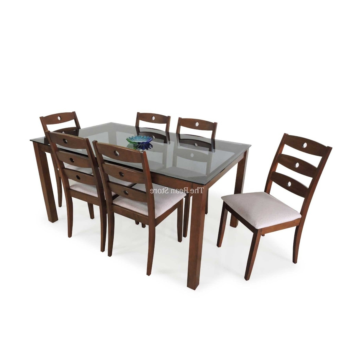 Brico Dining Table – Glass Top (6 Seater) – Bean Bags, Sofa Beds In Trendy 6 Seater Dining Tables (View 16 of 25)