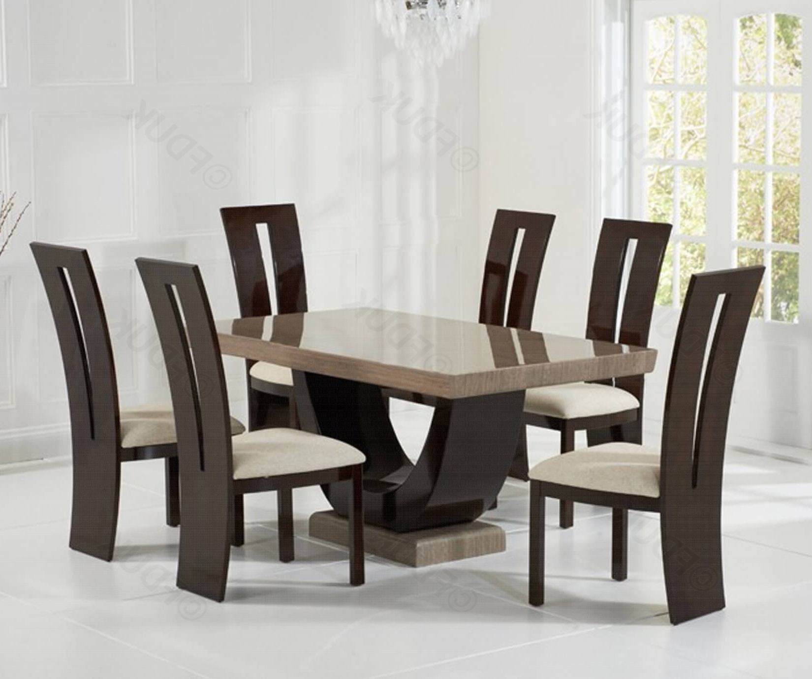 Brown Constituted Marble Dining Set With 6 Pertaining To Marble Dining Chairs (View 4 of 25)