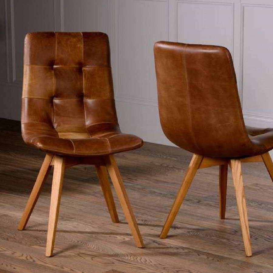 Brown Leather Dining Chairs Regarding Most Popular Italian Leather Buttoned Curved Seat Dining Chairthe Orchard (Gallery 1 of 25)