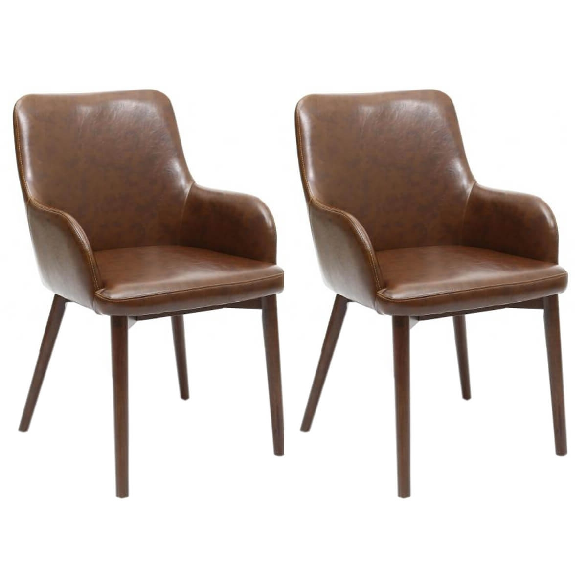 Brown Leather Dining Chairs Regarding Widely Used Sidcup Vintage Brown Leather Dining Chairs (View 6 of 25)