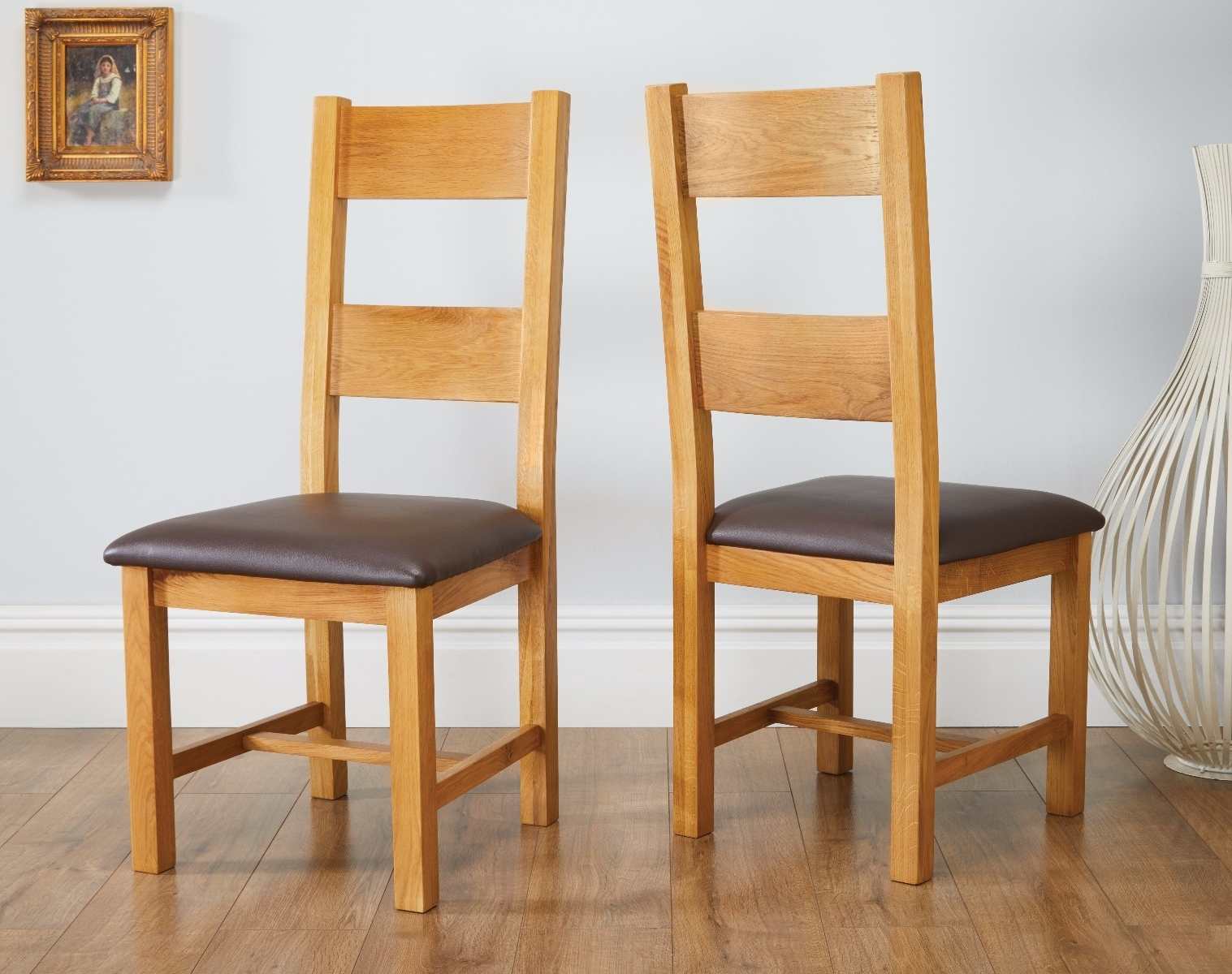 Brown Leather Dining Chairs With Regard To Favorite Chester Country Oak Ladder Back Brown Leather Seat Oak Dining Chair (Gallery 19 of 25)
