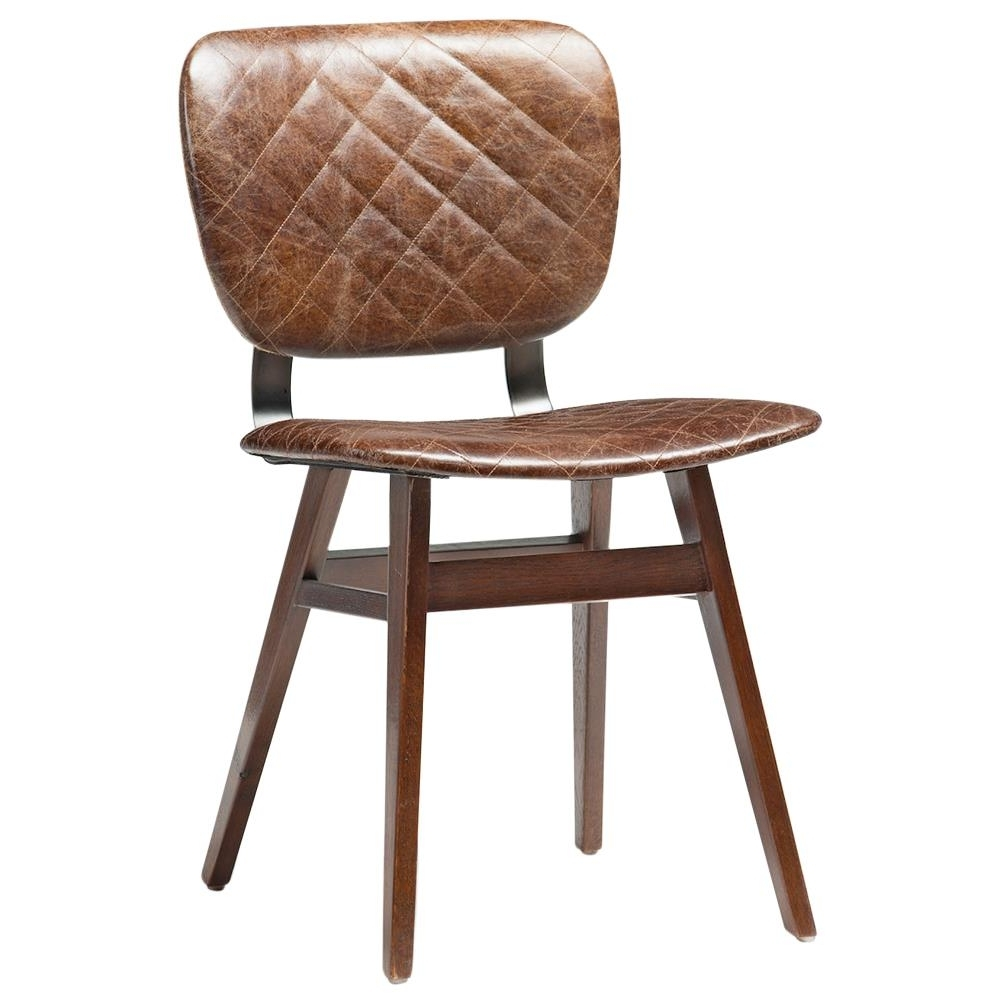 Brown Leather Dining Chairs With Regard To Trendy Drifter Industrial Loft Brown Leather Quilt Oak Dining Chair – Pair (Gallery 9 of 25)