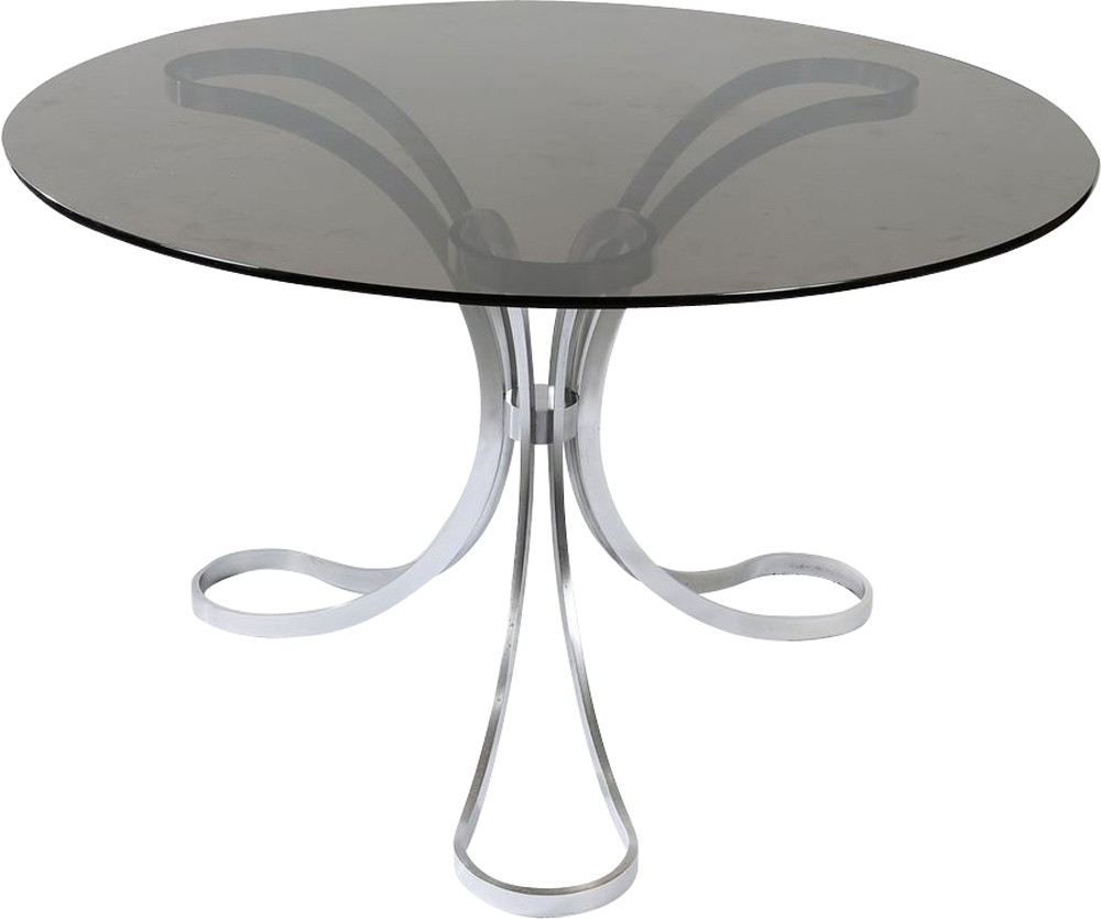Brushed Metal Dining Table – 1970S – Design Market Regarding Latest Brushed Metal Dining Tables (View 25 of 25)