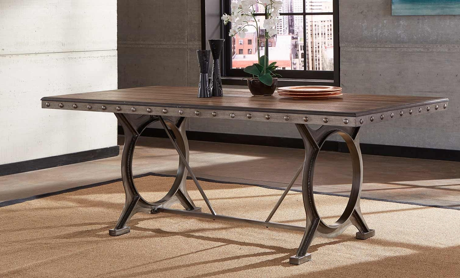 Brushed Metal Dining Tables Intended For Most Current Hillsdale Paddock Rectangle Dining Table – Brushed Steel Metal (Gallery 4 of 25)