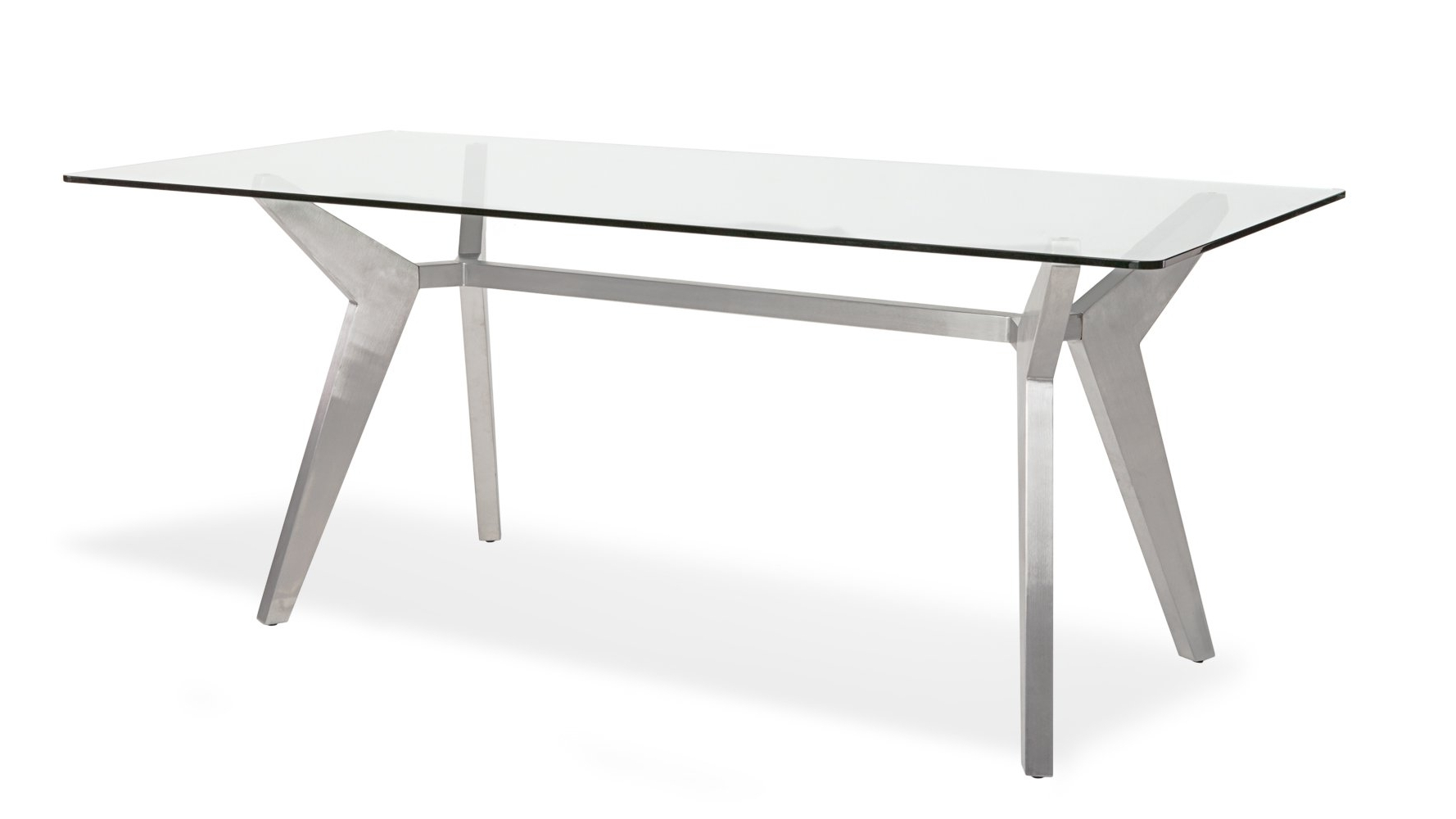 Brushed Metal Dining Tables Regarding 2018 Argo Glass Dining Table With Brushed Metal Base (View 3 of 25)