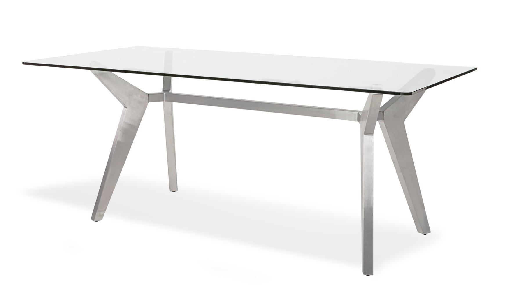 Brushed Metal Dining Tables Regarding 2018 Argo Glass Dining Table With Brushed Metal Base (Gallery 3 of 25)