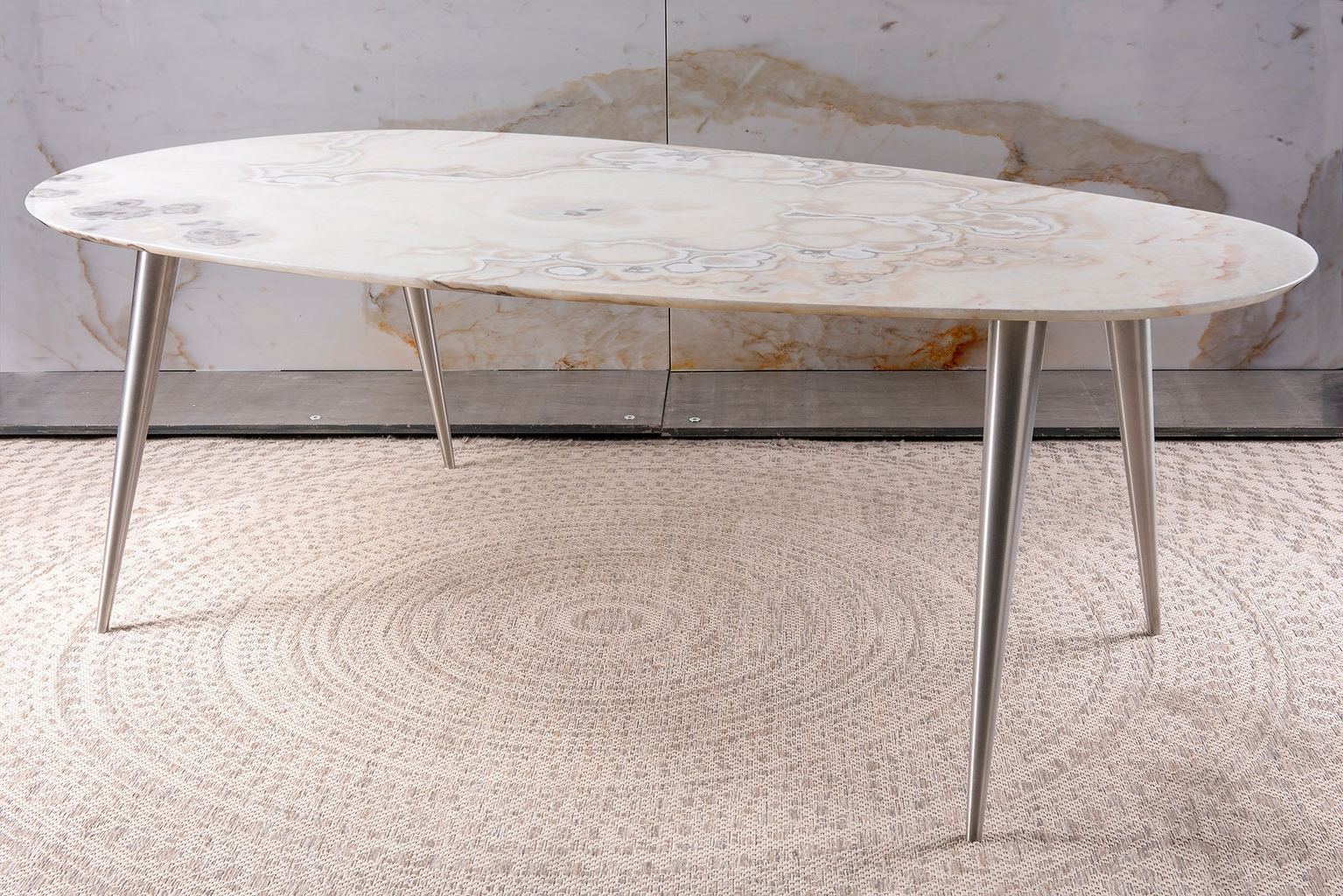 Brushed Steel Dining Tables In 2018 Pure Natural Design – Dining Table, Center Table & Side Table – De (Gallery 23 of 25)