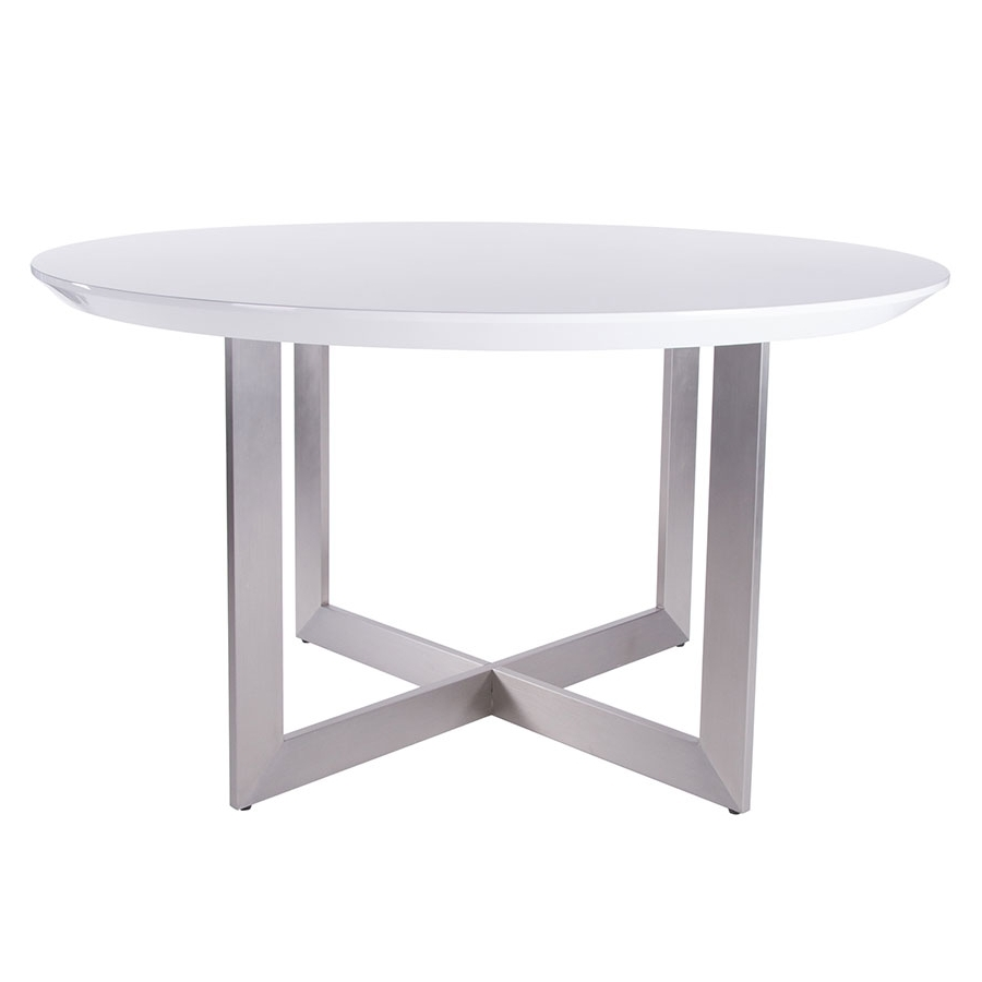 Brushed Steel Dining Tables With 2018 Toledo Glossy White Modern Dining Table (Gallery 10 of 25)