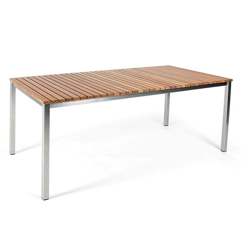 Brushed Steel Dining Tables With Regard To Most Recently Released Skargaarden Haringe Dining Table Brushed Stainless Steel With Teak (Gallery 9 of 25)