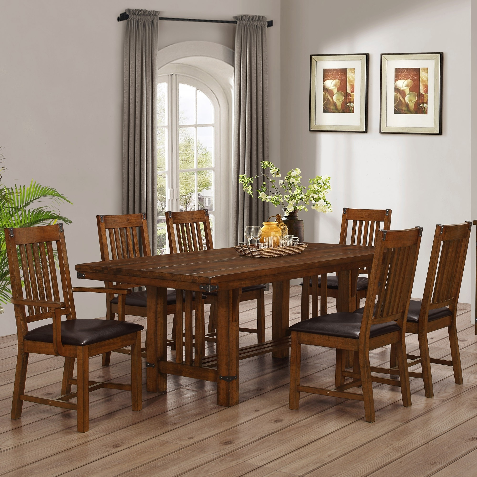 Buchanan Brown Mahogany Dining Room 7Pc Set For $949.94 – Furnitureusa Inside Most Popular Mahogany Dining Table Sets (Gallery 20 of 25)