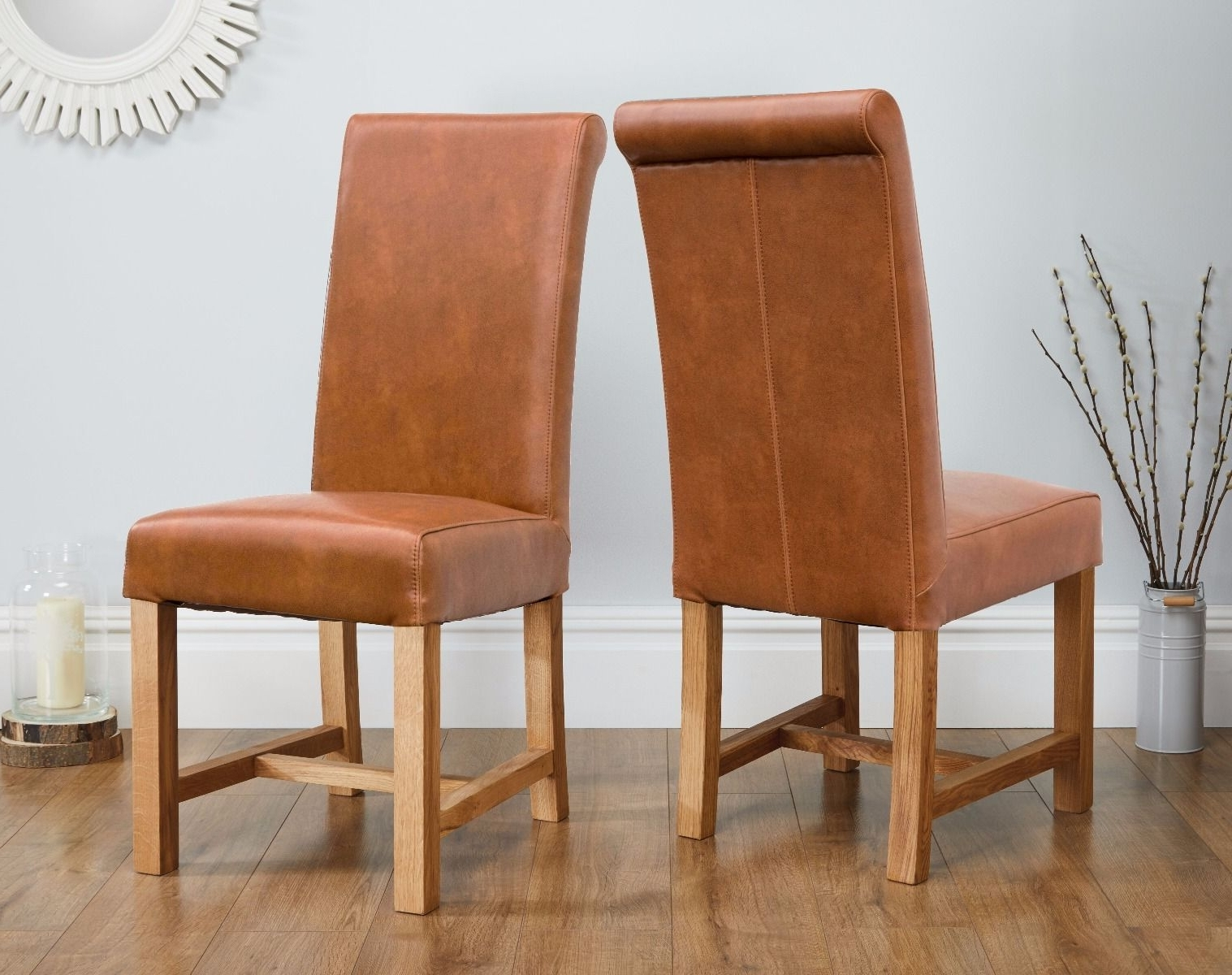 Buffalo Tan Brown Chunky Premium Leather Dining Chair Solid Oak Legs With Fashionable Brown Leather Dining Chairs (Gallery 5 of 25)