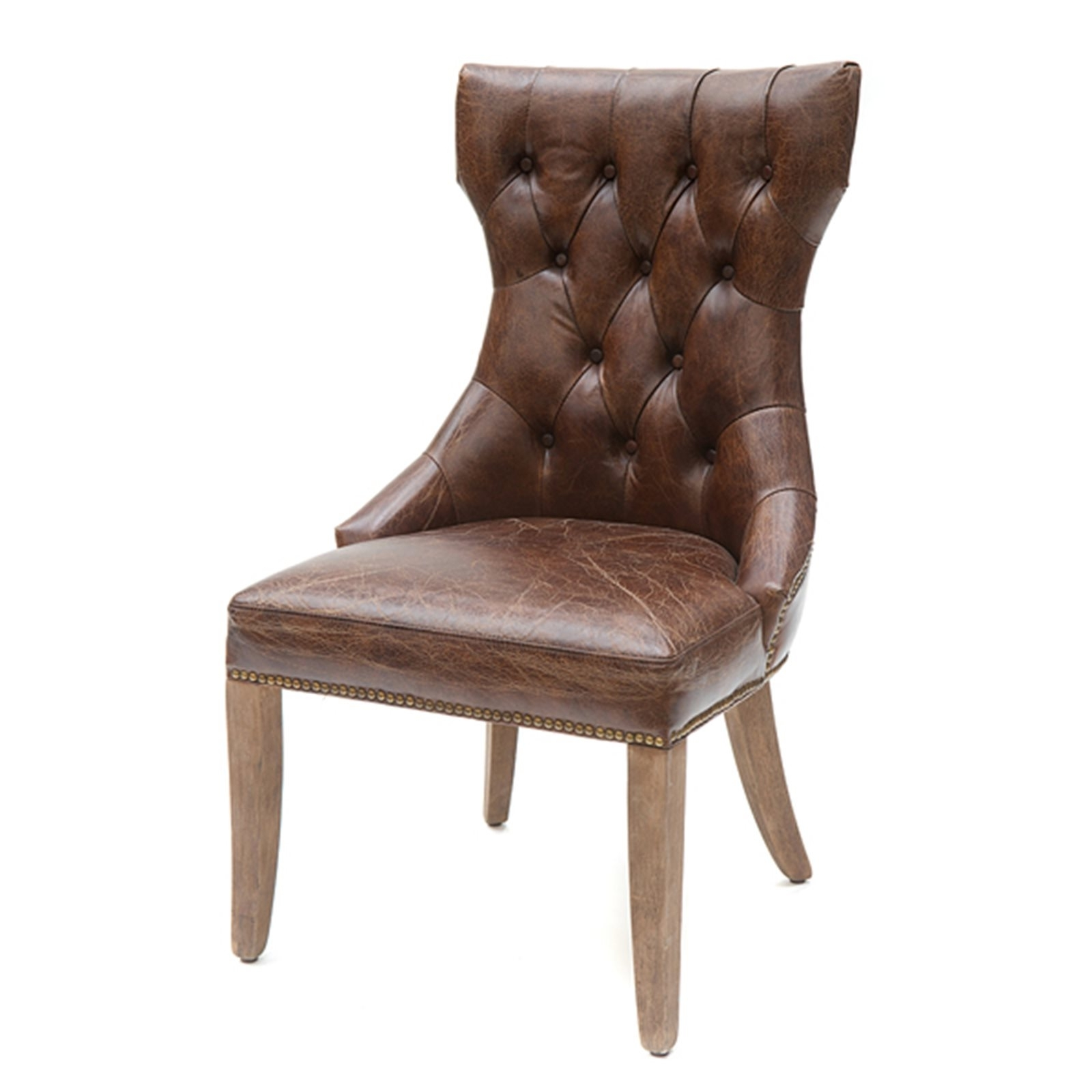 Button Back Dining Chairs Inside Well Known Loughton Button Back Leather Dining Chair (Gallery 15 of 25)