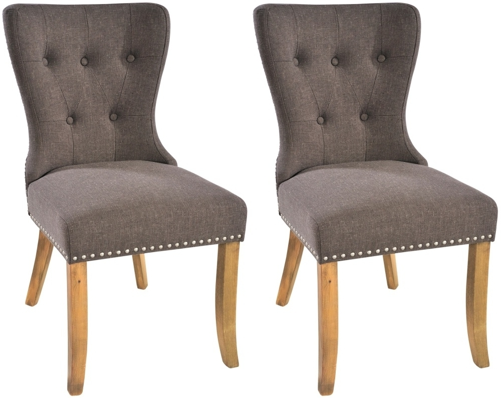 Button Back Dining Chairs Within Current Adelf Button Back Tiara Grey Fabric Dining Chair (Pair) (Gallery 11 of 25)