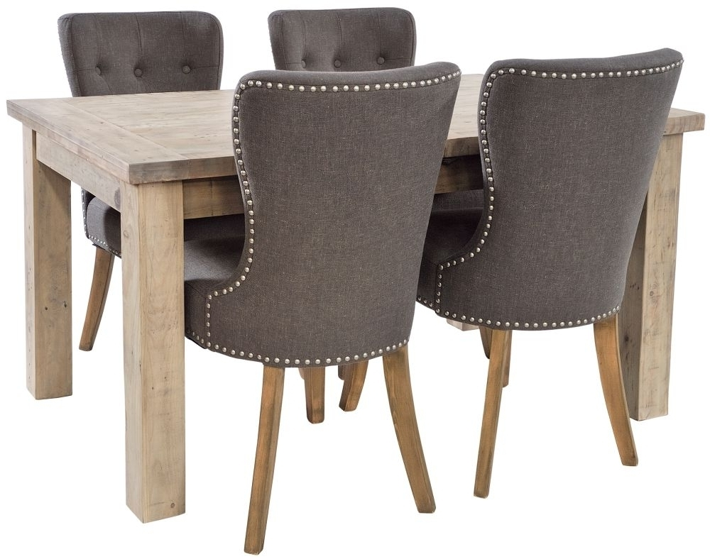Button Back Dining Chairs Within Current Ashley Rustic Reclaimed Wood Extending Dining Set With 4 Adelf (View 7 of 25)
