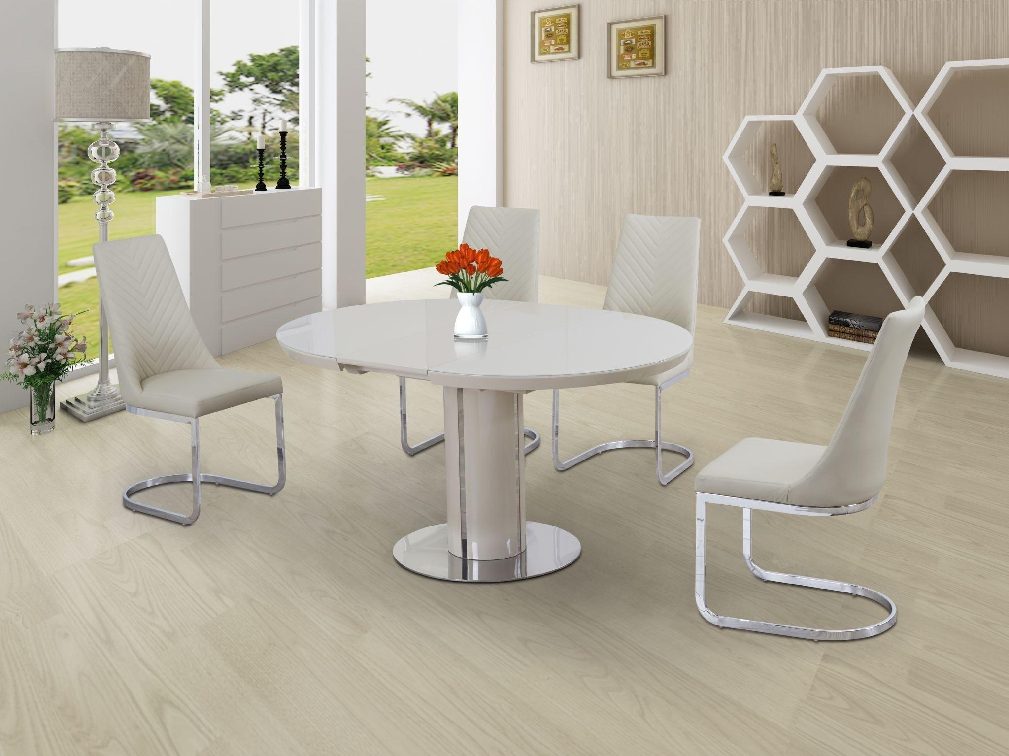Buy Annular Cream High Gloss Extending Dining Table In Recent White Gloss Extending Dining Tables (View 15 of 25)