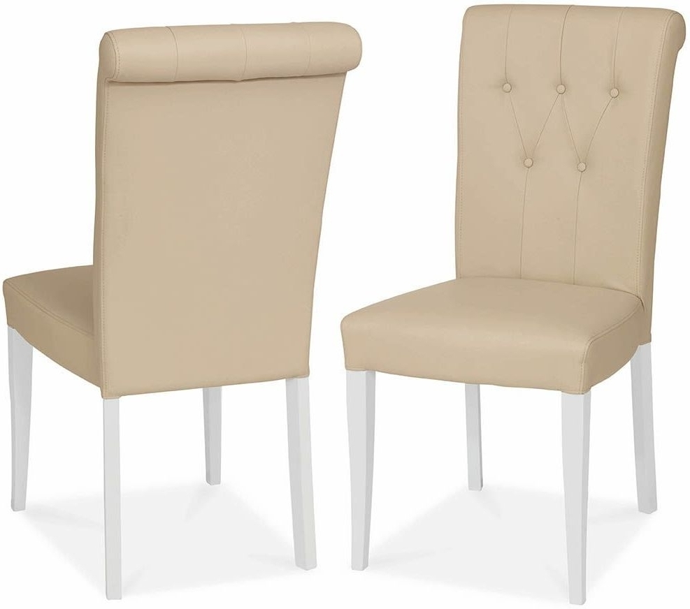Buy Bentley Designs Hampstead Two Tone Ivory Bonded Leather With Popular Ivory Leather Dining Chairs (View 6 of 25)