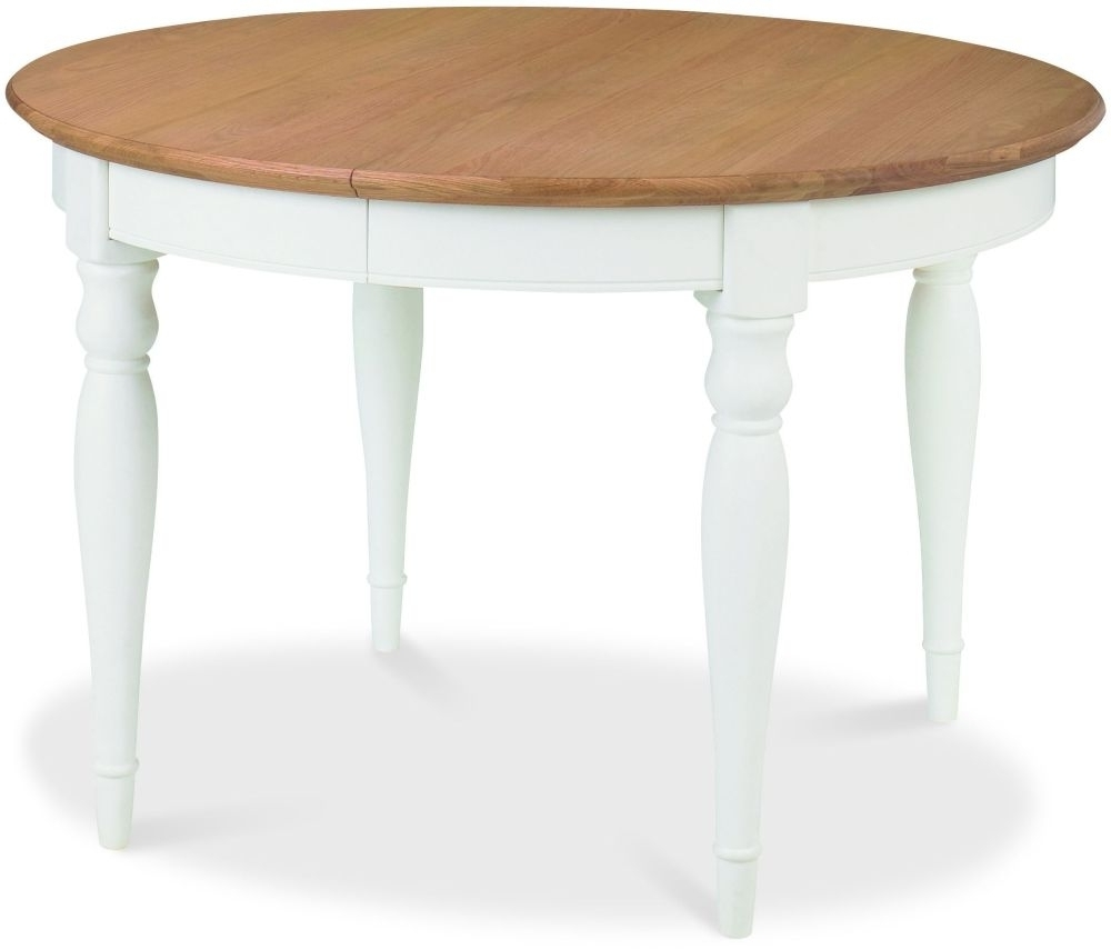 Buy Bentley Designs Hampstead Two Tone Round Extending Dining Table For Trendy White Oval Extending Dining Tables (View 19 of 25)