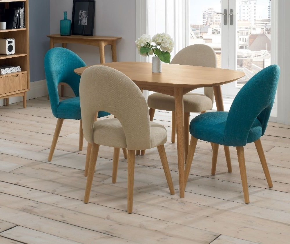 Buy Bentley Designs Oslo Oak Oval Dining Set With 2 Stone And 2 Teal Throughout Trendy Oak Dining Tables And Fabric Chairs (View 2 of 25)