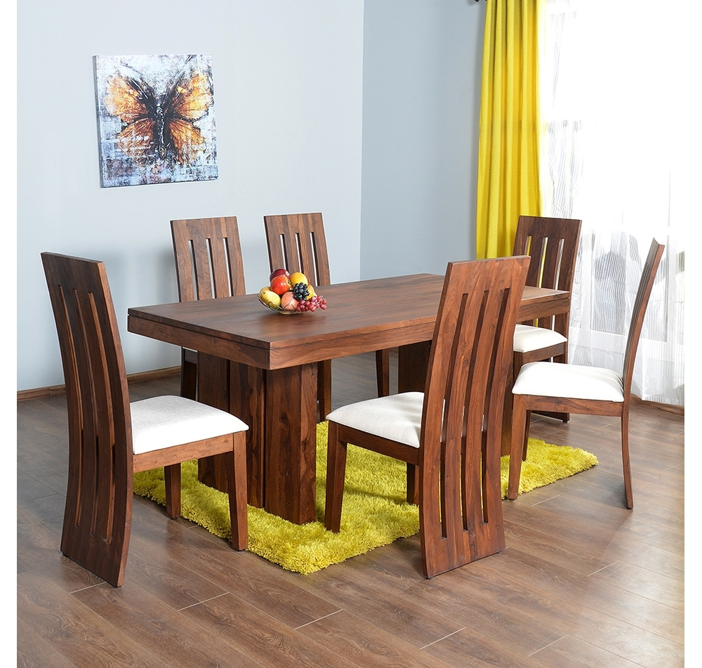 Buy Delmonte 6 Seater Dining Kit – @home Nilkamal, Walnut Online Regarding Fashionable 6 Seater Dining Tables (Gallery 13 of 25)