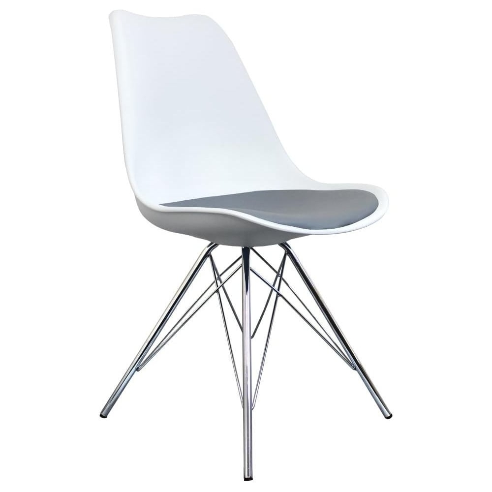 Buy Eiffel Inspired White And Grey Dining Chair With Chrome Metal Legs In Widely Used Chrome Dining Chairs (Gallery 13 of 25)