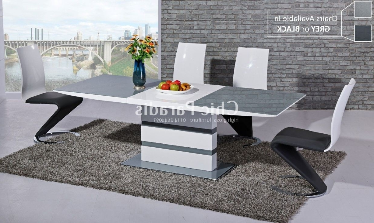 Buy Extendable High Gloss White Dining Table With Black Or Grey Glass For Most Popular Grey Glass Dining Tables (Gallery 14 of 25)