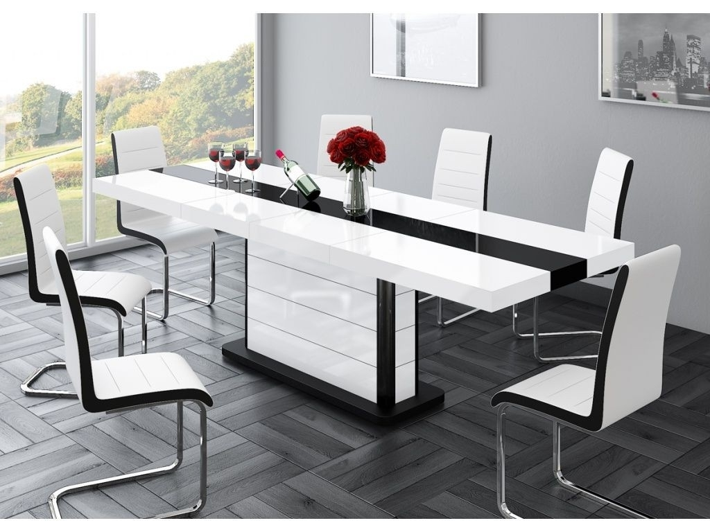 Buy High Gloss Black & White Extending Dining Table 160 256Cm 10 12 Within Best And Newest Extending Black Dining Tables (View 11 of 25)
