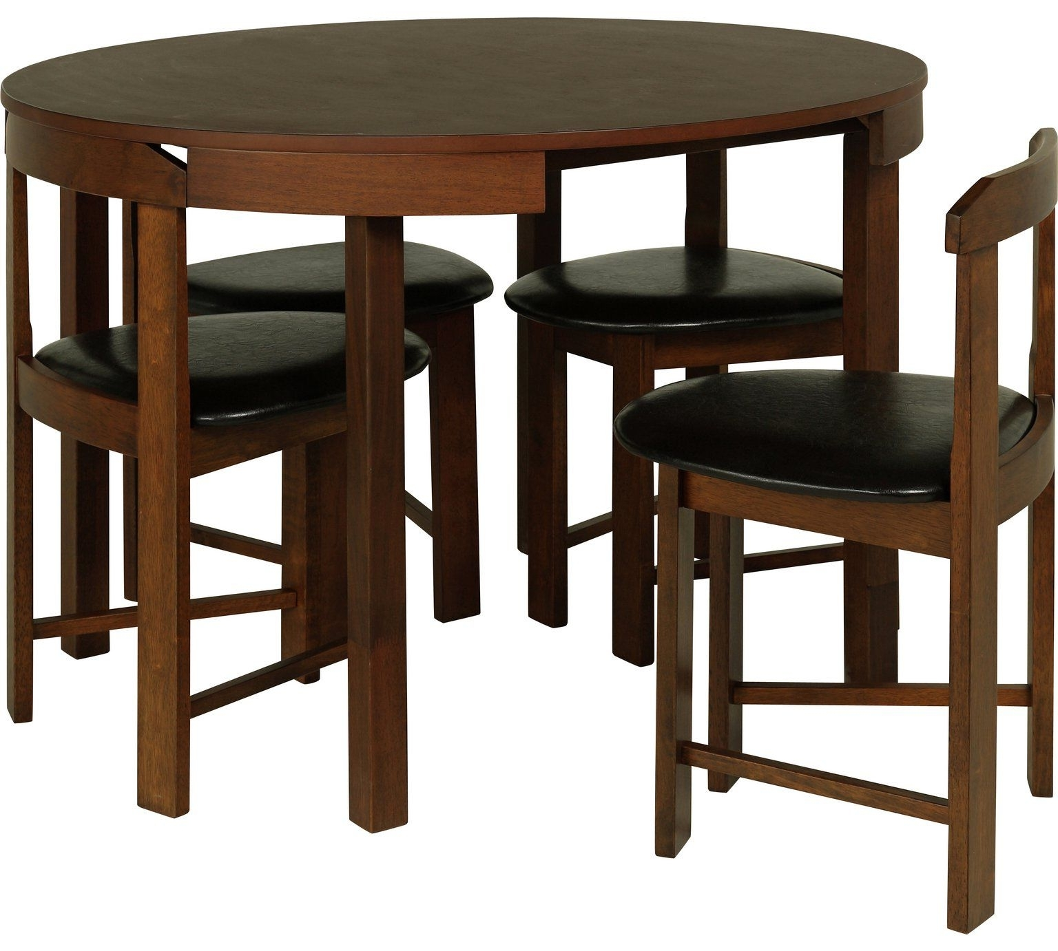 Buy Hygena Alena Circular Solid Wood Table & 4 Chairs – Black At With Most Up To Date Circular Dining Tables For (View 10 of 25)