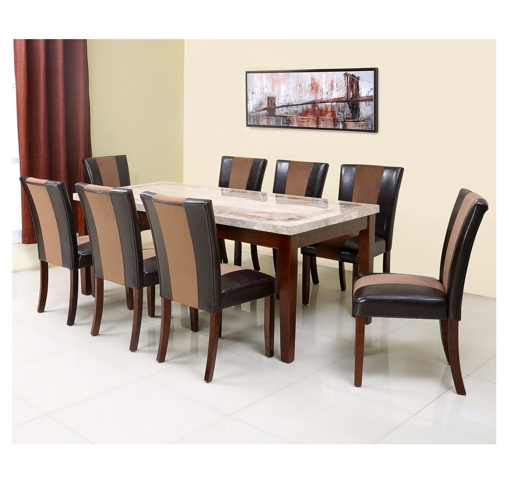 Buy Jenn 8 Seater Dining Set – @homenilkamal, Beight & Walnut For Favorite Eight Seater Dining Tables And Chairs (View 6 of 25)