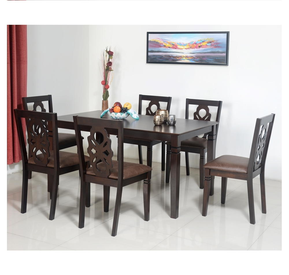 Buy Luther 6 Seater Dining Set – @homenilkamal, Antique Oak Pertaining To Newest Oak 6 Seater Dining Tables (Gallery 14 of 25)