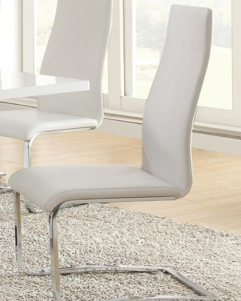 Buy Modern Dining White Faux Leather Dining Chair With Chrome Legs With Regard To Well Known White Leather Dining Chairs (Gallery 14 of 25)