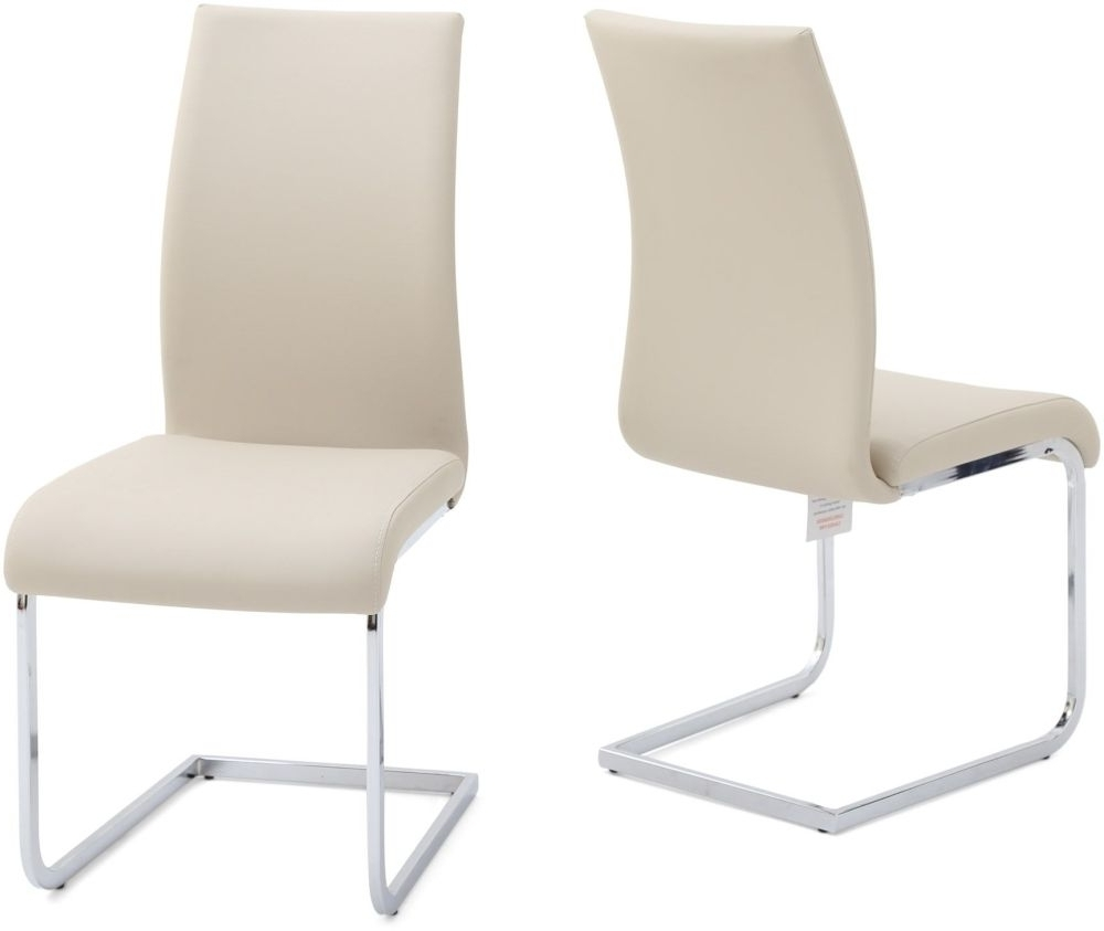 Buy Paolo Cream Faux Leather Dining Chair With Chrome Legs (Pair In 2017 Cream Faux Leather Dining Chairs (Gallery 13 of 25)