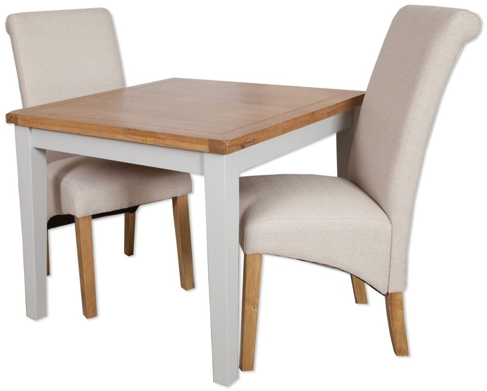 Buy Perth Oak And Grey Painted Dining Set – 4 Seater Online – Cfs Uk Throughout 2018 Perth White Dining Chairs (View 3 of 25)