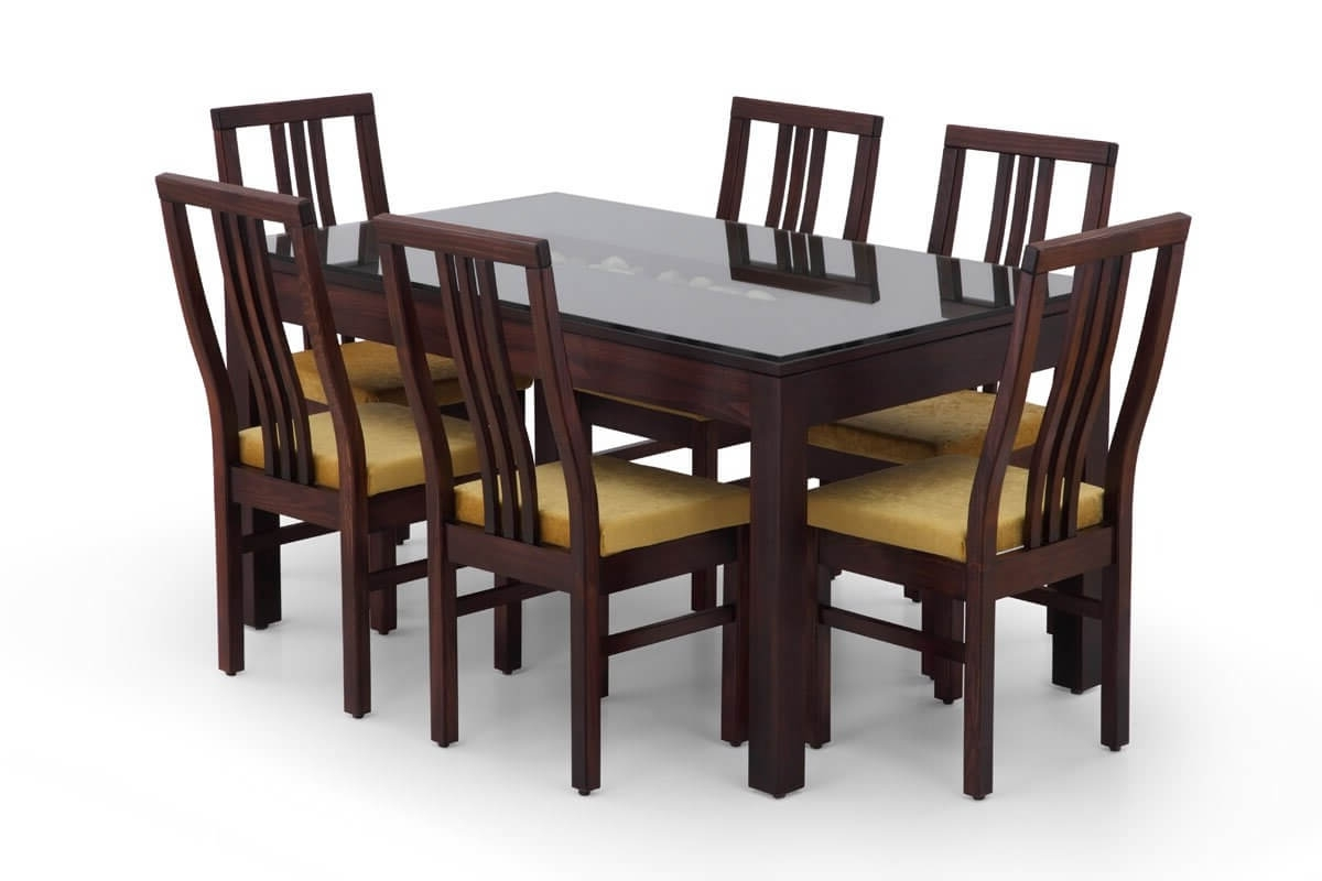 Buy Rectangular Glass Dining Table Set Wooden Glass In Well Known Wooden Glass Dining Tables (View 4 of 25)