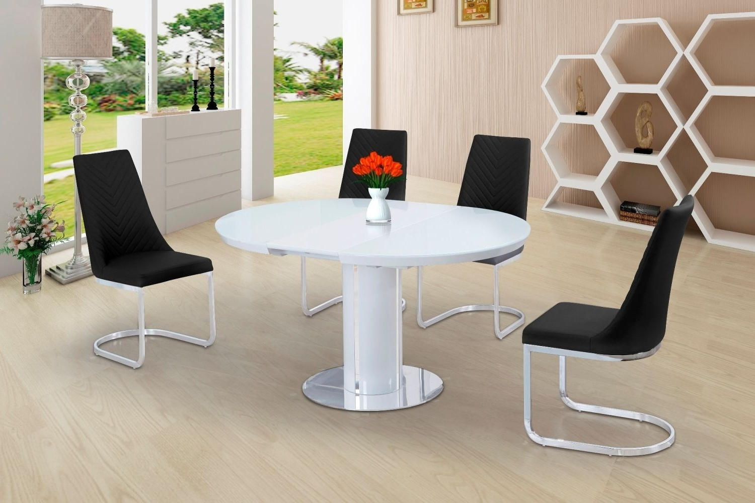 Buy Space Saving White Gloss Extending Round Dining Table Throughout Well Liked White Round Extending Dining Tables (Gallery 7 of 25)