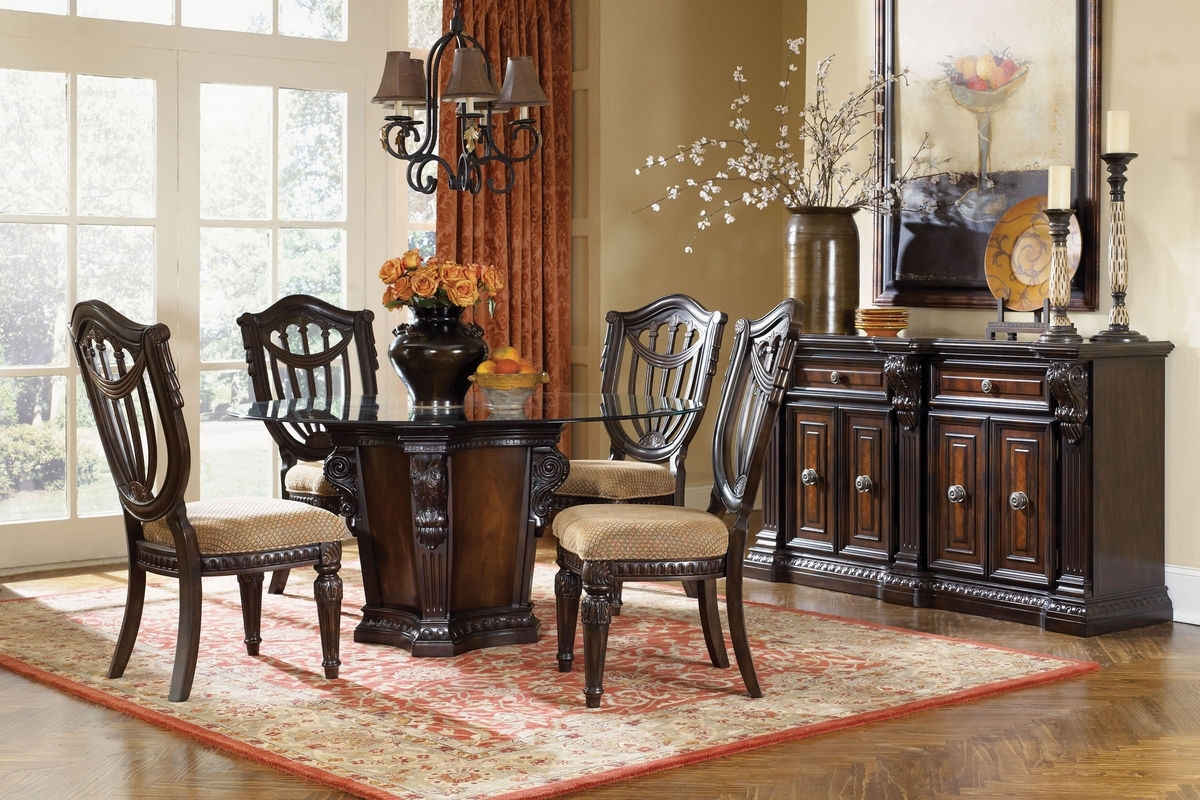 Cabernet Round Glass Pedestal Table + 4 Chairs At Gardner White For Favorite Valencia 5 Piece Round Dining Sets With Uph Seat Side Chairs (View 8 of 25)