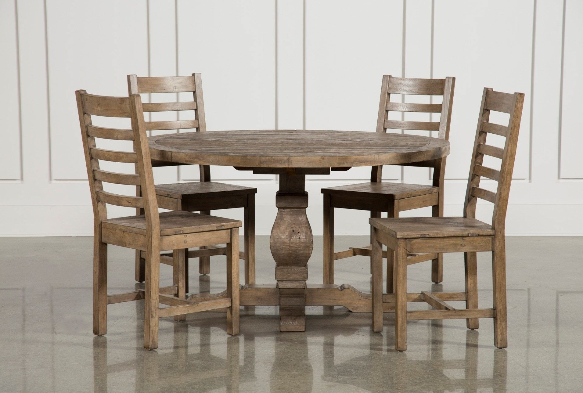 Caden 5 Piece Round Dining Set, Natural (View 1 of 25)