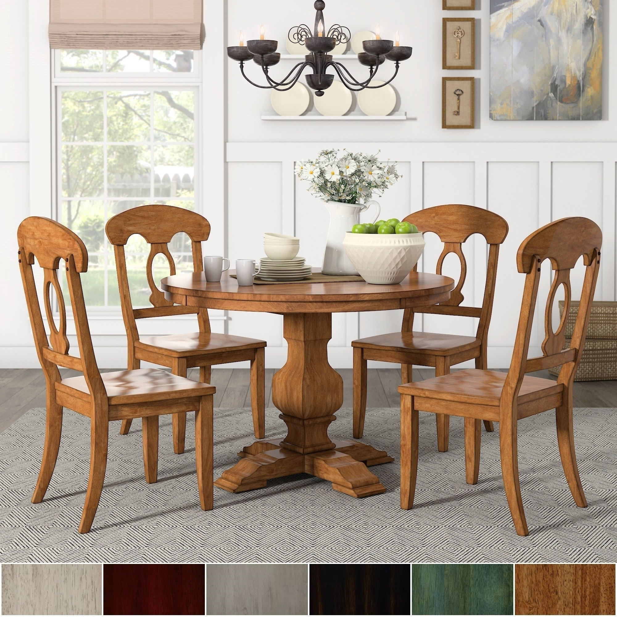 Caden 5 Piece Round Dining Sets In Favorite Eleanor Oak Round Soild Wood Top 5 Piece Dining Set – Napoleon Back (View 2 of 25)