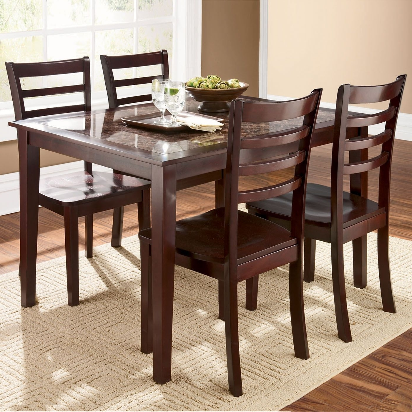 Caden 5 Piece Round Dining Sets With Upholstered Side Chairs With Popular Dining Tables & Chairs (View 21 of 25)
