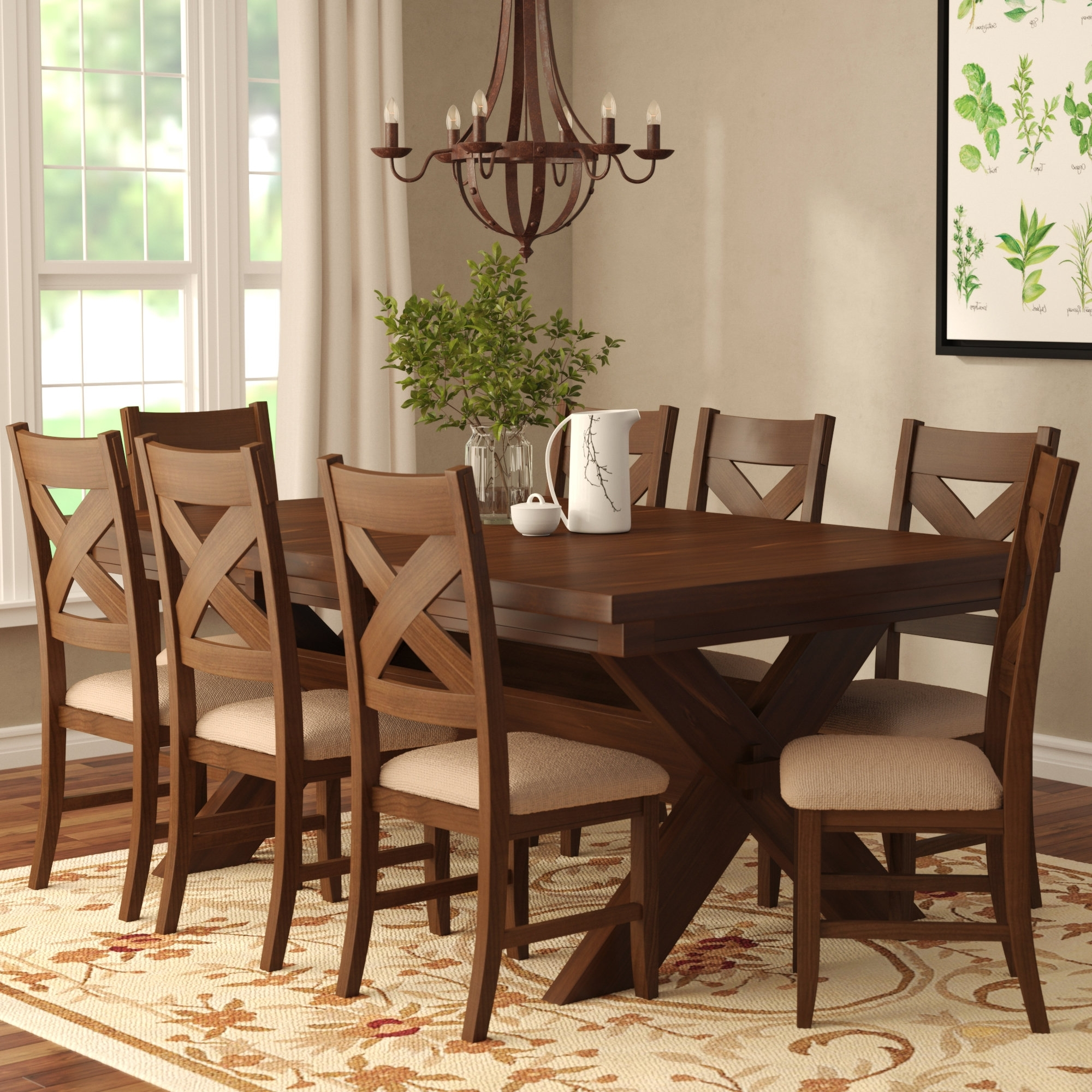 Caden 6 Piece Dining Sets With Upholstered Side Chair Regarding Famous Laurel Foundry Modern Farmhouse Isabell 9 Piece Dining Set & Reviews (View 17 of 25)