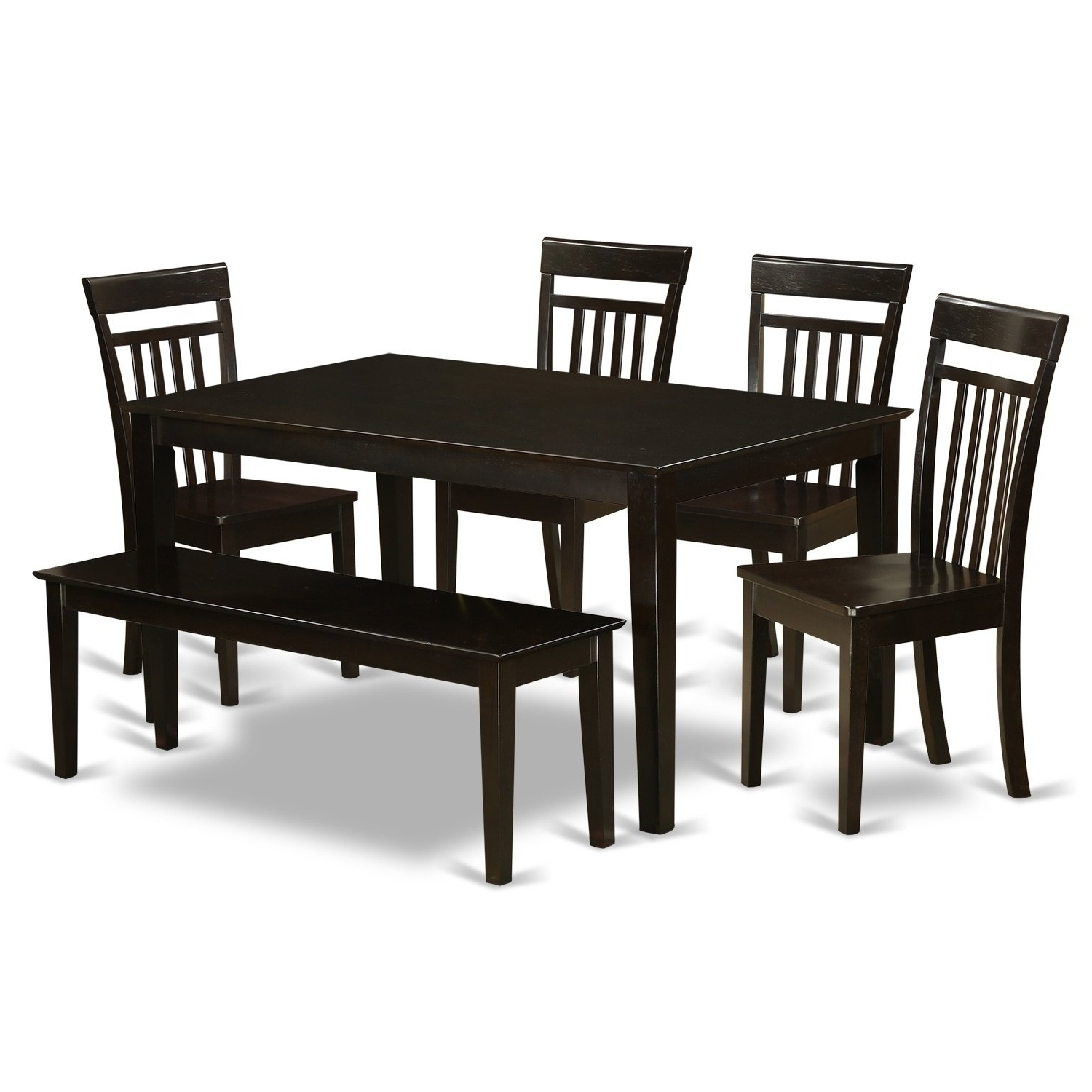 Caden 6 Piece Rectangle Dining Sets Intended For Most Up To Date Cap6S Cap 6 Pc Dining Set  Table And 4 Kitchen Chairs Plus A Bench (Gallery 11 of 25)