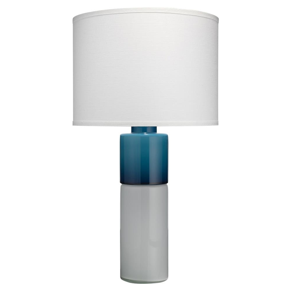 Caden Modern Classic Blue White Glass White Linen Shade Table Lamp Pertaining To Current Caden Round Dining Tables (View 24 of 25)