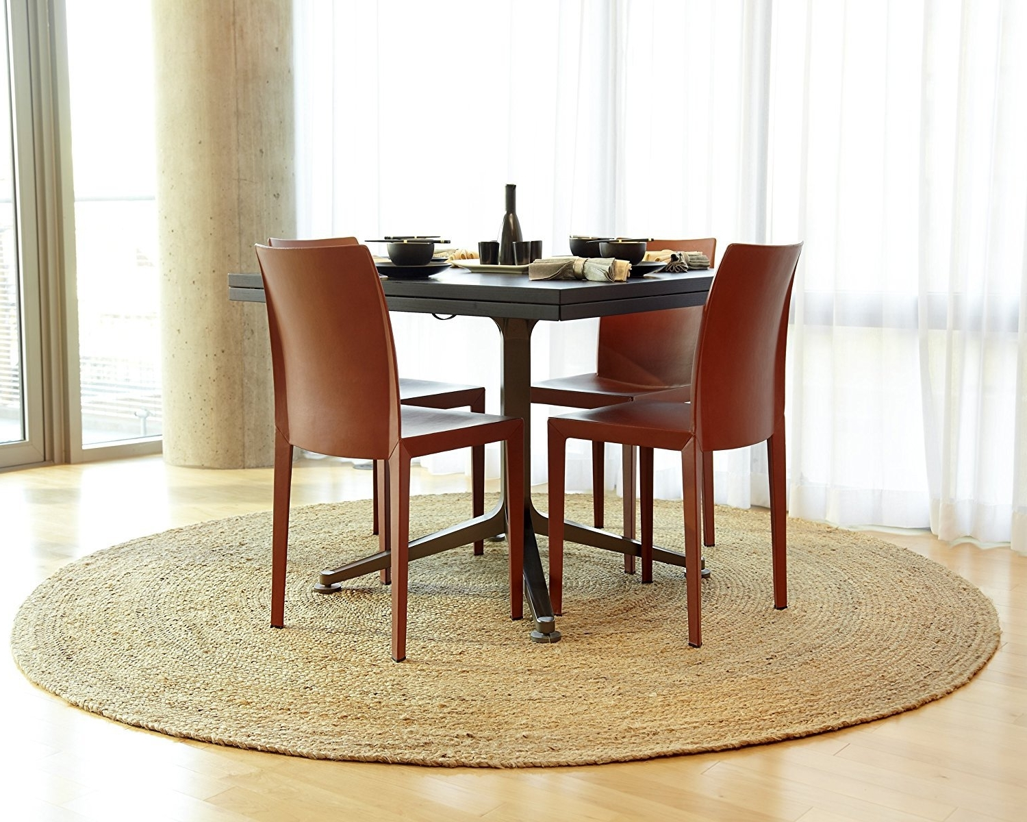 Caden Round Dining Tables Intended For Most Current Gray Decor Round Seagrass Rug Room Design Casual Motif Seagrass Rug (View 21 of 25)