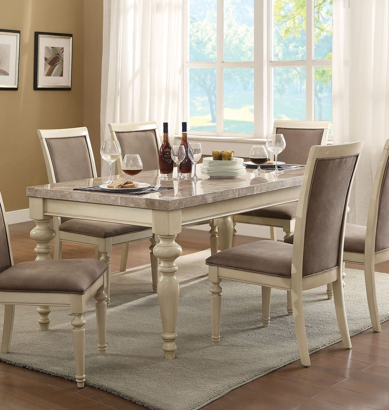 Caira 7 Piece Rectangular Dining Sets With Upholstered Side Chairs For Famous Acme 71705 Ryder Antique White Marble Top Dining Table (View 4 of 25)