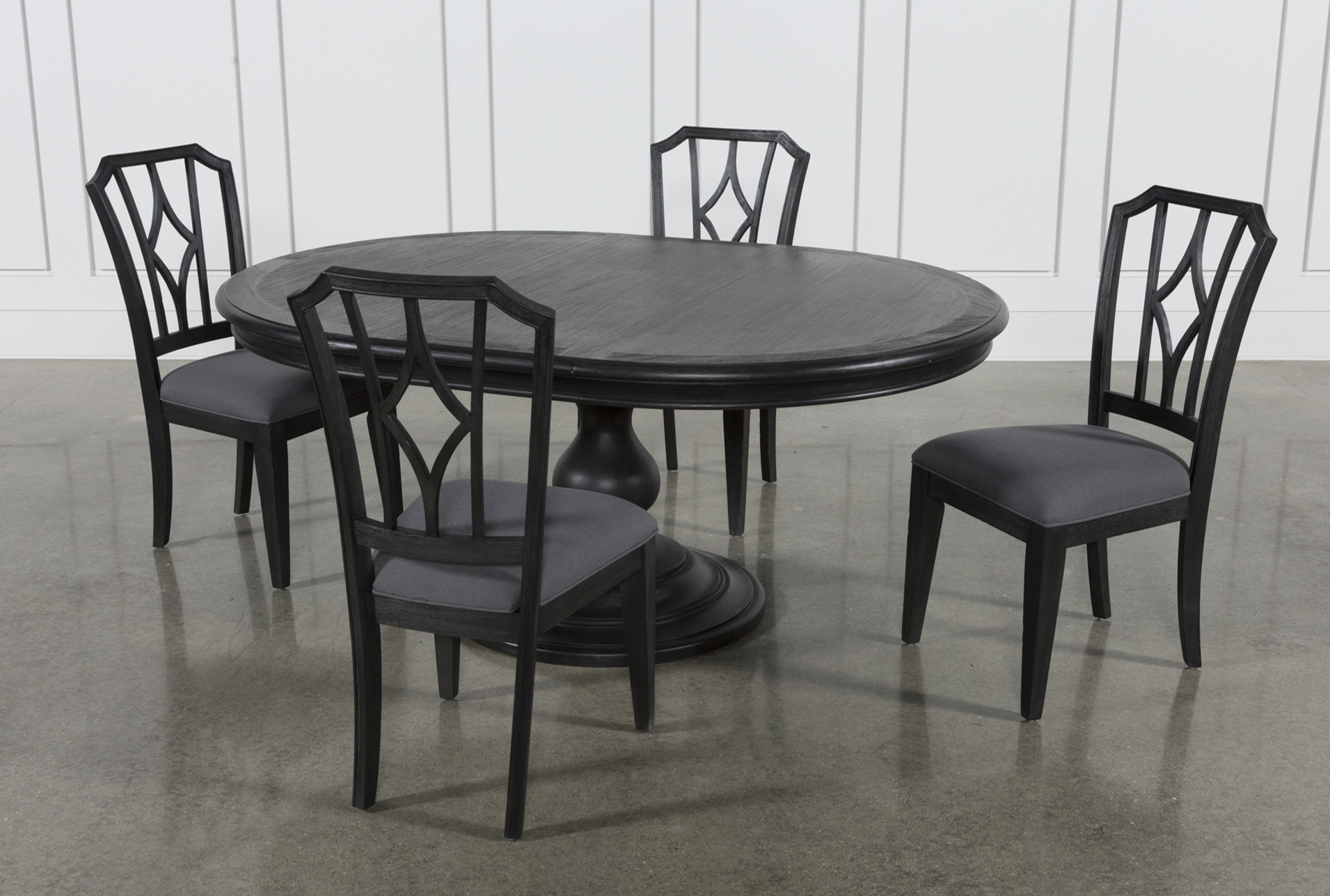 Caira Black 5 Piece Round Dining Sets With Upholstered Side Chairs With Current Global Furniture Bar Table Black (Gallery 5 of 25)