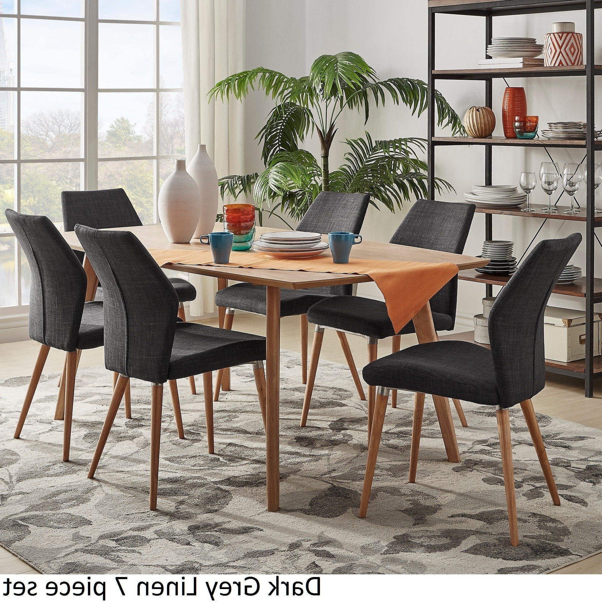 Caira Black 5 Piece Round Dining Sets With Upholstered Side Chairs With Regard To Latest Shop Abelone Scandinavian Oak Dining Set Inspire Q Modern – On Sale (View 18 of 25)
