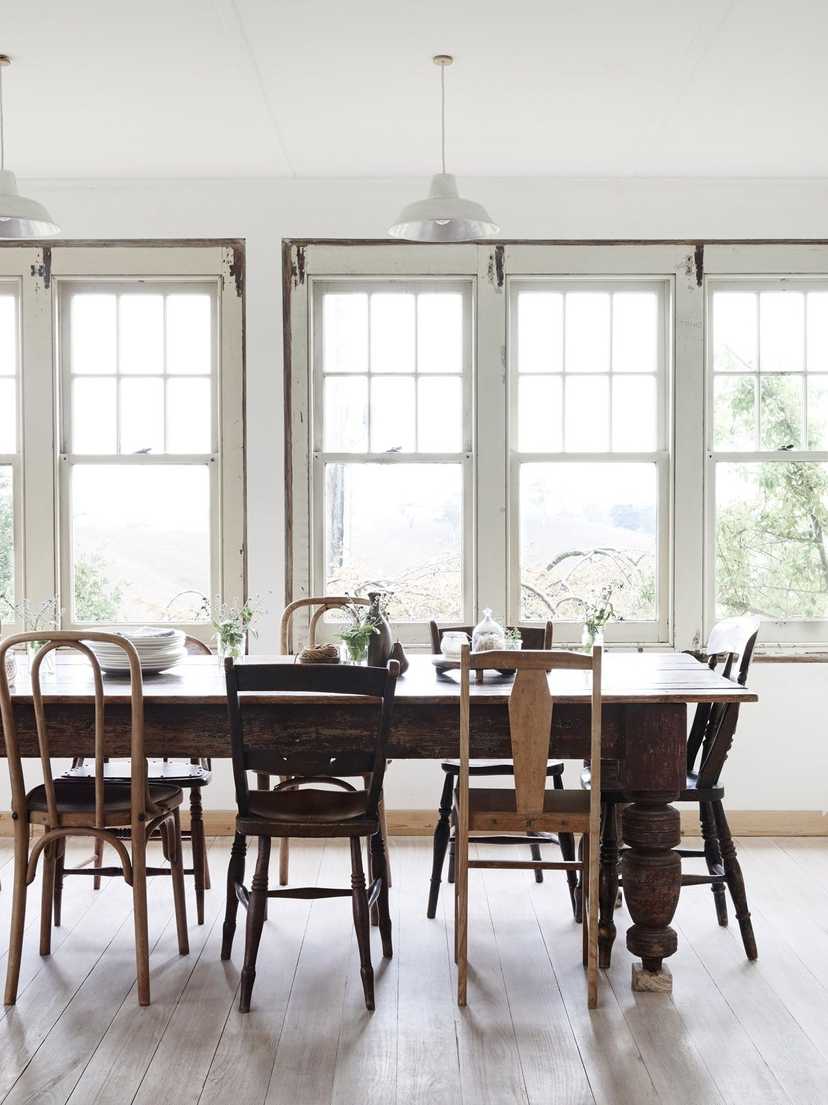 Caira Black 7 Piece Dining Sets With Arm Chairs & Diamond Back Chairs Within Popular Simple Dining Room. Farm Table. Mixed Chairs. (Gallery 6 of 16)