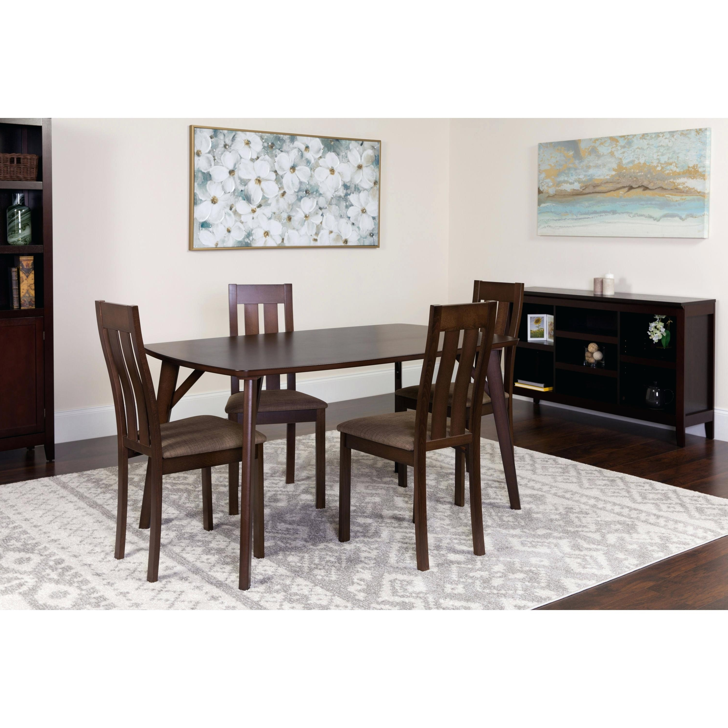 Caira Black Round Dining Tables Pertaining To Best And Newest 5 Piece Espresso Dining Set Our 5 Piece Espresso Wood Dining Table (View 17 of 25)