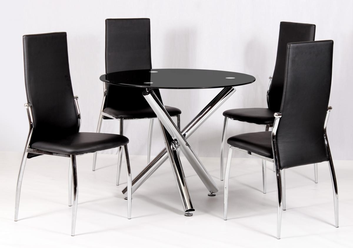 Calder Dining Set Chrome & Black Glass 4 Chairs – Feelinghomely Regarding Well Known Round Black Glass Dining Tables And 4 Chairs (View 5 of 25)