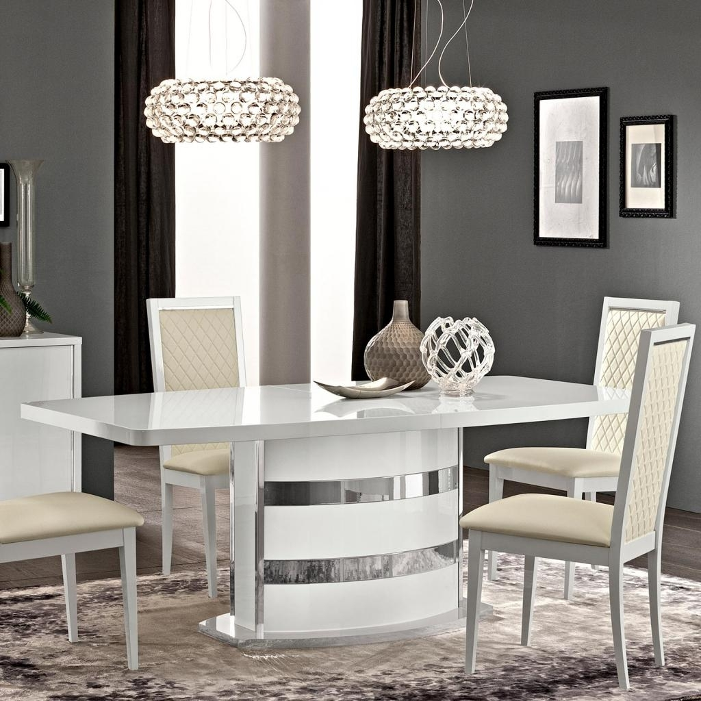 Caligula Italian White High Gloss Extending 2 2.45M Dining Table With Recent Black Gloss Dining Room Furniture (Gallery 19 of 25)