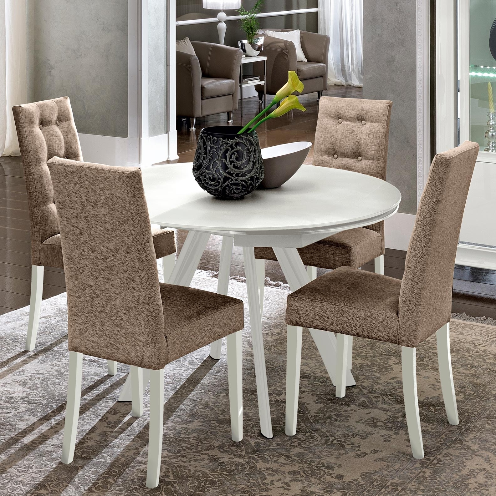 Caligula White High Gloss & Glass Round Extending Dining Table  (View 4 of 25)
